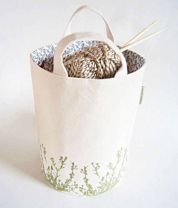 Large Organic Cotton Canvas Box Bin Organizer Storage Basket/ Bag / Hand Printed Cascade Flowers in Green/ Made To Order