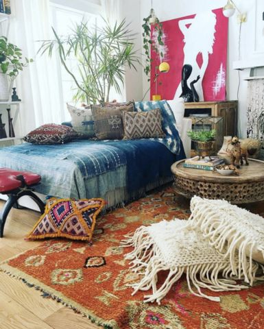 Bohemian Decorating Ideas Red Blue Orange Bedroom