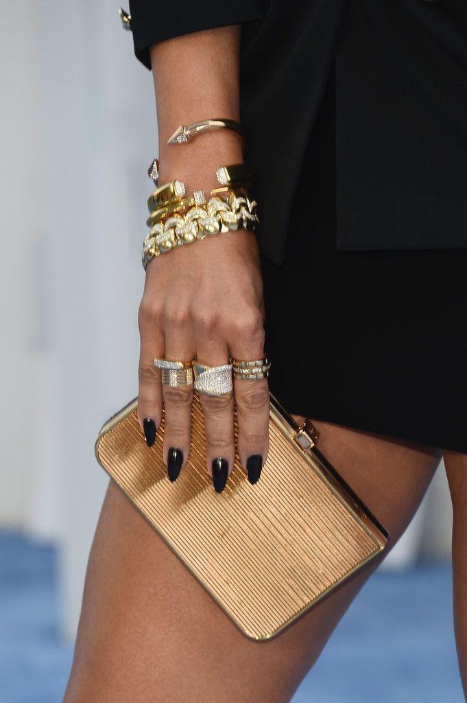 Jennifer Lopez wore a jet-black shade on her nails for the MTV Movie Awards.