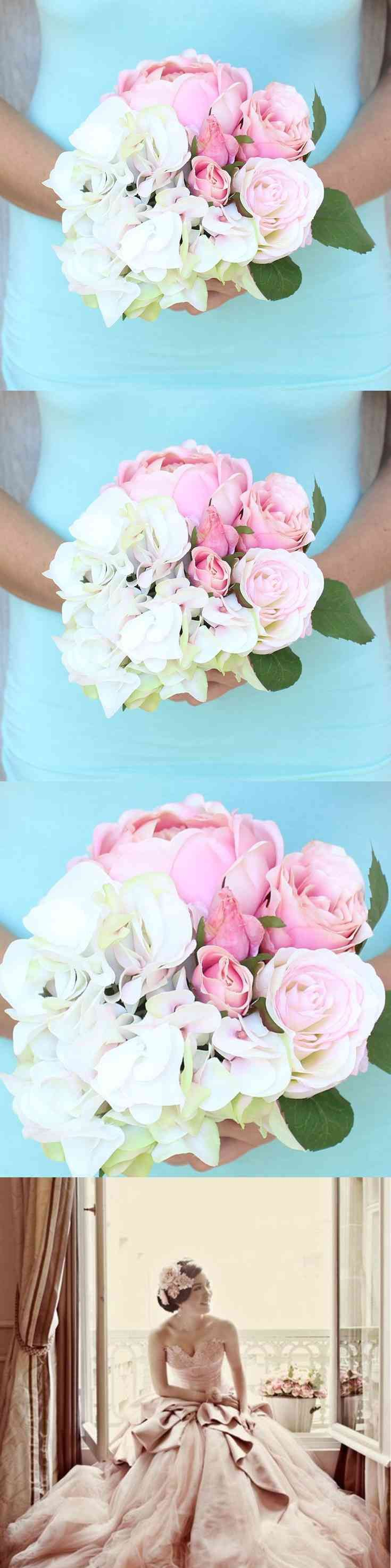 What a wonderful time for a spring wedding this Stunning Spring Bridal Bouquet, Wedding Bouquet, is created with Silk Hydrangeas, Roses and Peony together with real touch roses,  each stem is wrapped with floral tape for uniform and clean  finished look adorned with a brooch of your choice Silver, Pearl, Pink, and ribbon. Bridal Sets, Cream, Soft and Stunning (...) (via pushapin.com)