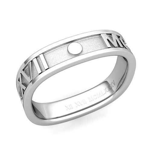 Square Roman Numeral Wedding Band in 14k Gold, 5mm. Design and handcrafted by My Love Wedding Ring. Custom made roman numeral wedding band crafted in a 5mm square band of 14k white, yellow or rose gold with your special date converted to roman numerals.