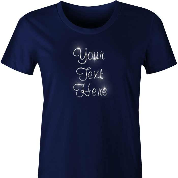 Custom Diamante TShirt / Singlet Your custom textis written in sparkling diamante crystals across the front of our ladies tshirt or singlet with scoop neck. The more you buy the cheaper...