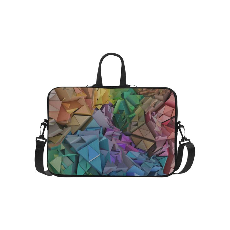 Colorful Abstract Geometric Low Poly 3d Blocks Laptop Handbags 15""