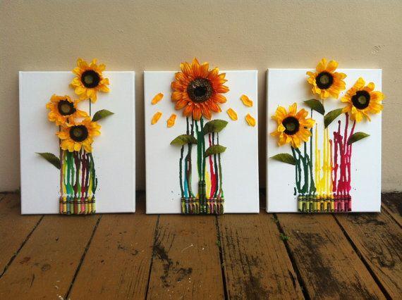 Sunflower Canvas Crayon Art by LiveHighOnShorts on Etsy, $20.00