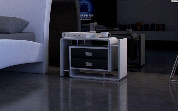 UNIQUE Nachtkommode weiss/schwarz rechts | günstig Möbel online kaufen - Vieles Sofort lieferbar und in 24 Stunden versandbereit