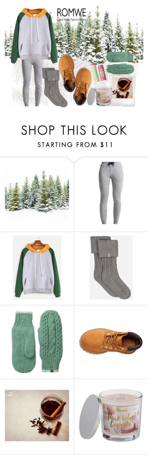 """Untitled #354"" by kat-van-d ❤ liked on Polyvore featuring UGG, The North Face, Timberland, Polaroid, SONOMA Goods for Life, Pixi and romwe"