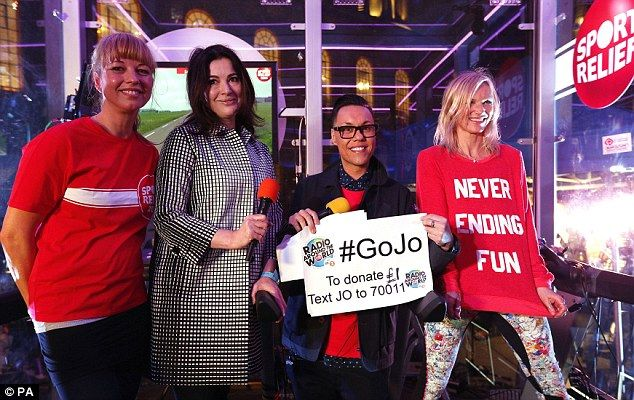 Doing her bit: Nigella (second left) was not the only star who turned up to support Radio 2 DJ Jo (right), as Sara Cox (left) and Gok Wan (second right) were also in attendance