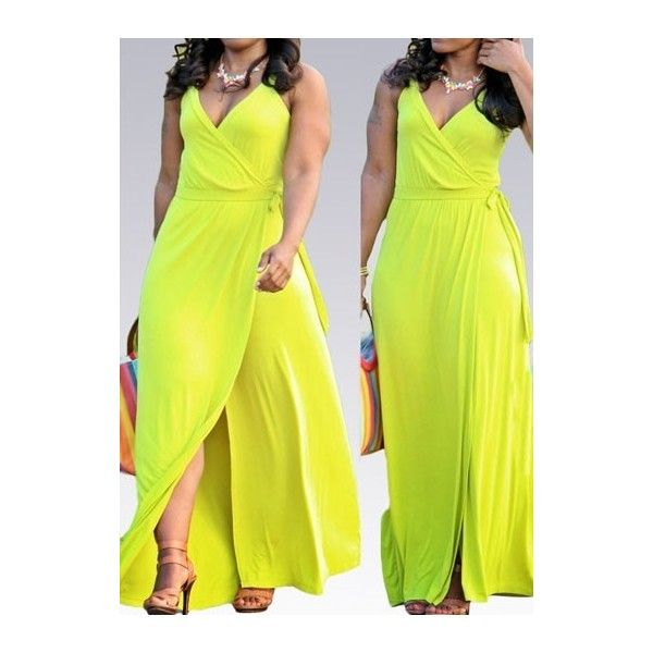 Sleeveless Neon Yellow V Neck Maxi Dress ($24) ❤ liked on Polyvore featuring dresses, yellow, neon yellow dress, sleeveless cotton dress, high waist dress, maxi dress and print dress
