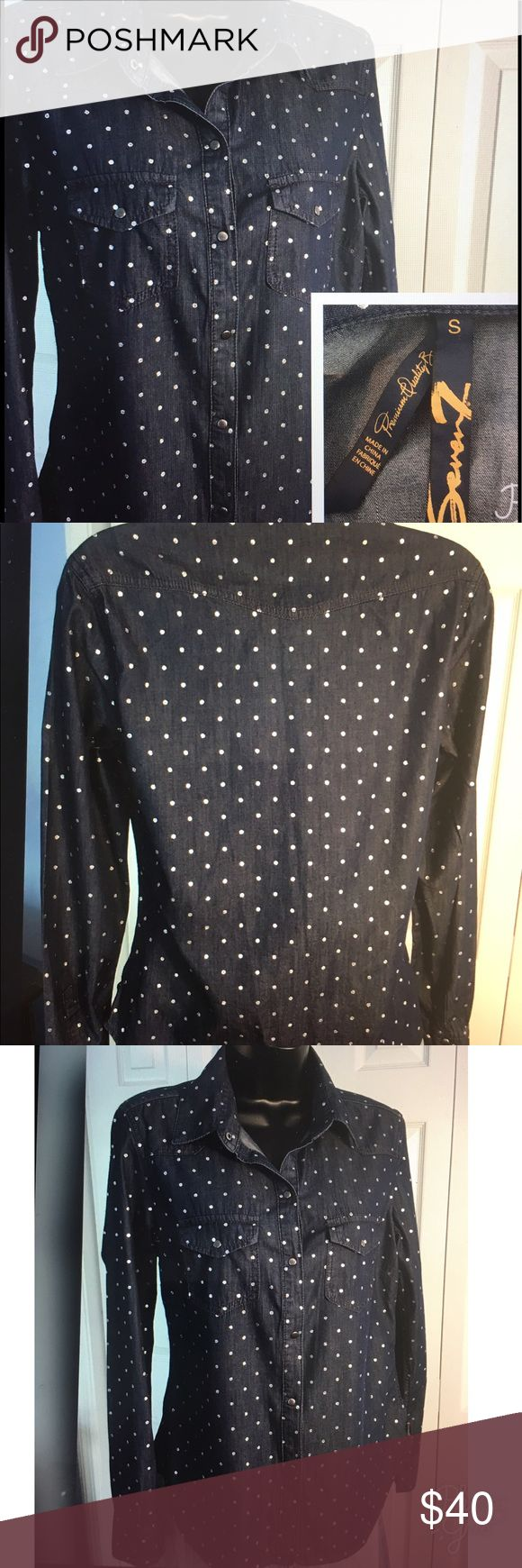 """7 For All Mankind Snap Top Super cute blue denim long sleeve top. White accent dots with snap closures on front, pockets and sleeves. Excellent condition. Measures 18"""" across and 24"""" long. Seven7 Tops Button Down Shirts"""