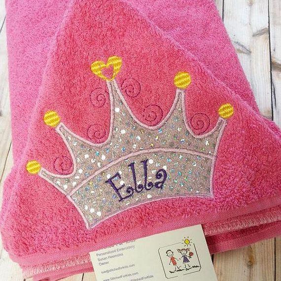 Toalla con capucha princesa con corona Tiara Custom