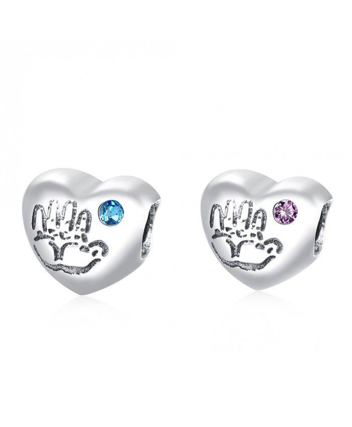 925 Sterling Silver Bracelet Heart Charms Blue/Pink