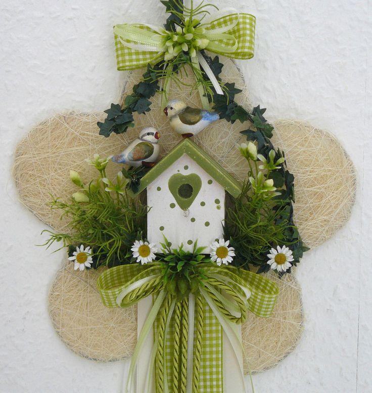 Sisalblüte creme/grün mit Vogelhäuschen Sisalblume Türkranz Frühling Sommer