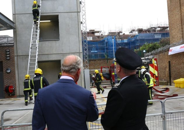 There has been a fire-station in Cable Street since 1937, although the history of fire-fighting in Shadwell dates back to the early 1800s, when a parish pump was kept at St Paul's churchyard in Ratcliff Highway.  Today's royal visit to Shadwell is part of a year-long programme marking the Brigade's century-and-a-half guarding London as Britain's biggest fire service.- 07/09/2016 [Advertiser photo: Paul Bennett]
