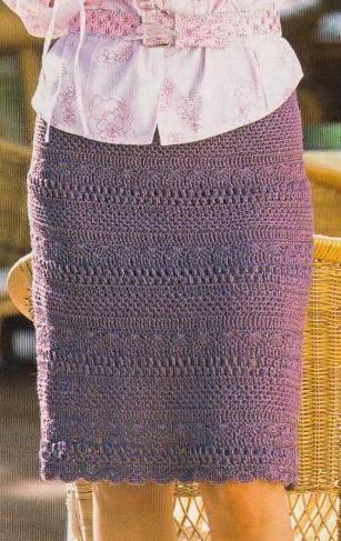 Прямая вязаная юбка крючком схема вязания. | Вязаные юбки.ру