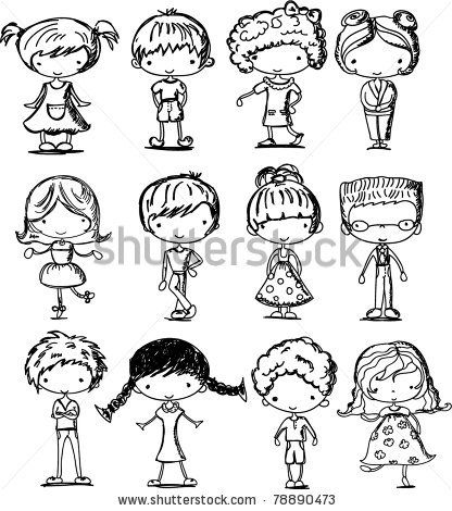 aaw cute little cartoon drawings of children. could be cute for paper dolls.