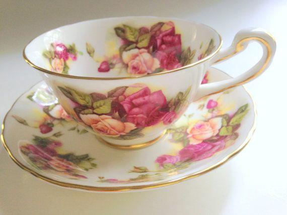 Royal Chelsea Rose Tea Cup and Saucer, Antique Tea Cups, English Bone China Cups, Tea Set, Rose Cups, Tea Cups and Saucers, Tea…