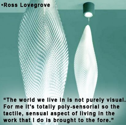 """""""The world we live in is not purely visual. For me it's totally poly-sensorial so the tactile, sensual aspect of living in the work that I do is brought to the fore."""" -Ross Lovegrove www.InteriorsBYMI.com  #InteriorDesign #Visionary #Inspiration"""