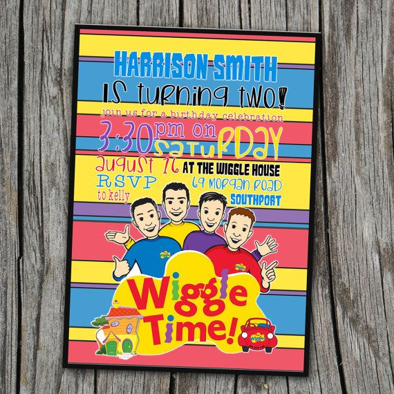 THE WIGGLES Birthday Invitation  Wiggle Time  by EmbellisheDesigns, $12.00