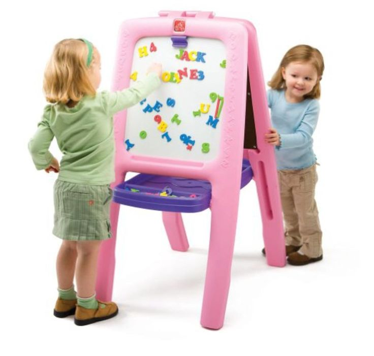 Step2 Arts & Crafts Magnetic Drawing Board Pink Kids Easel Standing Chalkboard #Step2