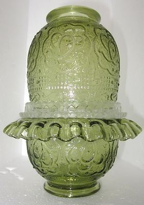 Fenton Persian Medallion Colonial Green Fairy Lamp with Ruffle