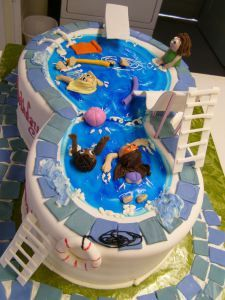 eight shaped swimming cake holiday girls diving board