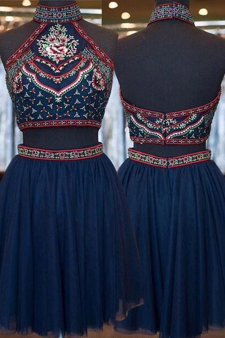 National Style Homecoming Dress,High Neck Homecoming Dress,Two-piece Homecoming Dress,Dark Blue Homecoming Dress,Beaded Homecoming Dress,Embroidery Homecoming Dress,Homecoming Dress,Homecoming Dresses,2017 Homecoming Dress,2017 Homecoming Dresses