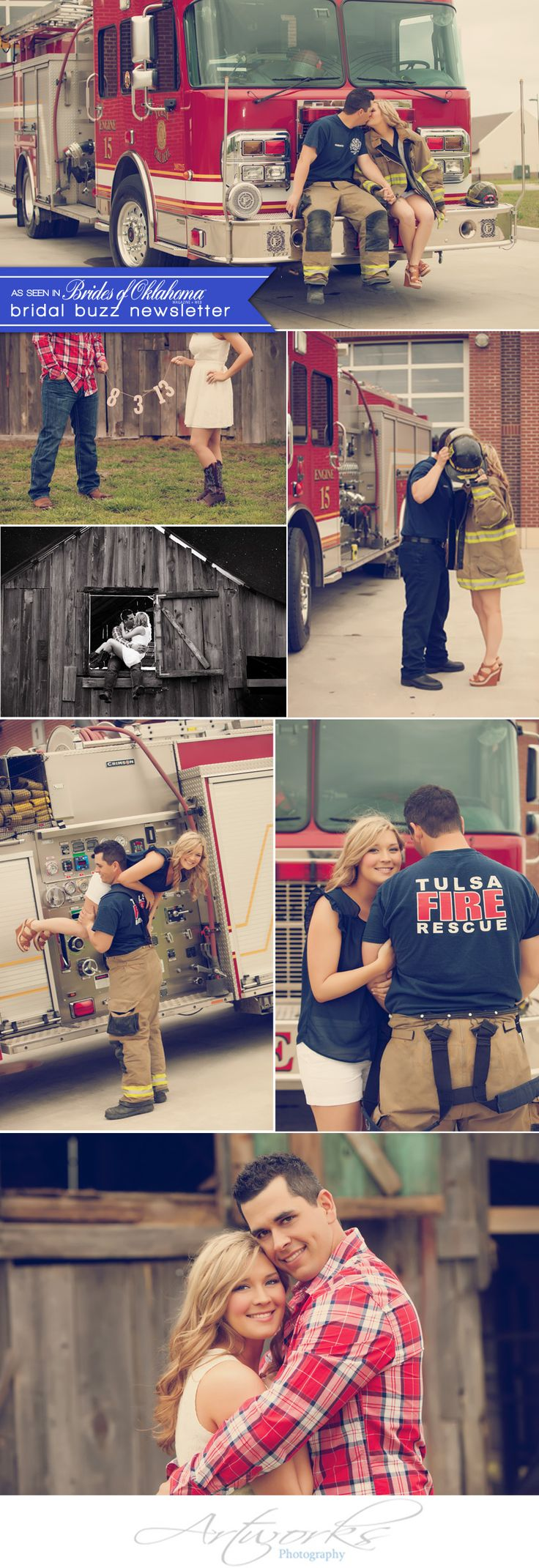 Cute firetruck engagement shoot by Artworks Tulsa Photography. #wedding #engagement #cutecouple