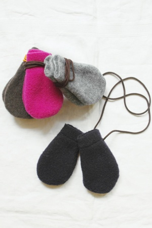 wool fleece mittens, maike