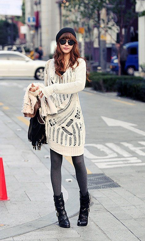 Even if you find a sweater that is 1 or 2 sizes too big it will work with grey or black or brown leggings and boots.
