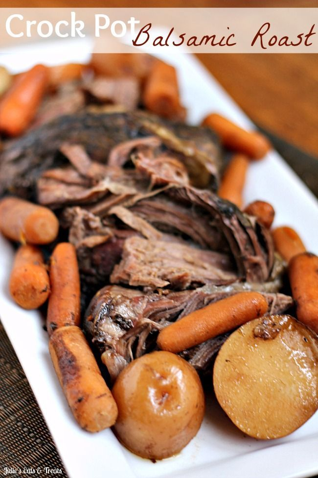 Ingredients 4-5lb beef roast     1 1/2 c. beef broth     1/2 c. brown sugar     1/4 c. balsamic vinegar     1 Tbsp soy sauce     1 tsp salt     1/4 tsp crushed red pepper flakes     3 cloves garlic, pressed     1 lb baby carrots     2 lbs baby red potatoes, quartered