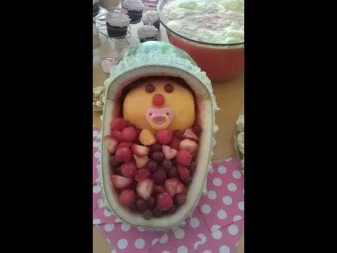 Baby Shower~Watermelon Bassinet How To karpuzdan beşik :) İnsan yemeye kıyamaz di mi :)