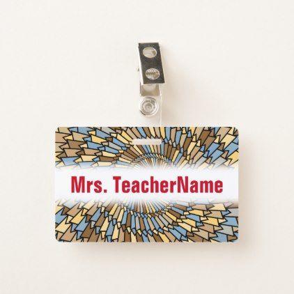 Wheat Harvest Colors Spiral Pattern  Teacher Name Badge - pattern sample design template diy cyo customize