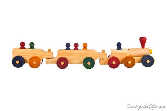 Wooden Toy Passenger Train, Toy Train , wood Toy Train  This Natural Organic Wooden Passenger Train is designed and made in the USA by