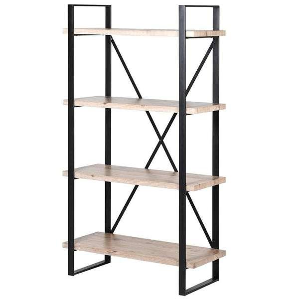 Iron And Wood Loft Shelving Unit In 2020 Wood Shelves Shelves Metal Shelving Units
