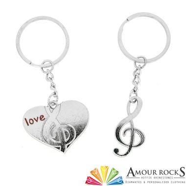 music love split and share key chain