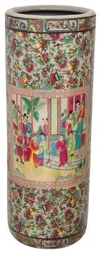 Oriental Home Porcelain 24-Inch Rose Medallion Umbrella Stand - asian - coat stands and umbrella stands - Overstock