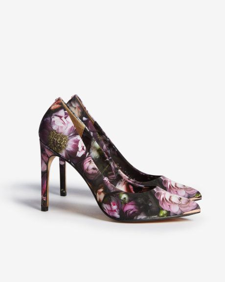 Printed leather court shoes - Mid Gray | Shoes | Ted Baker