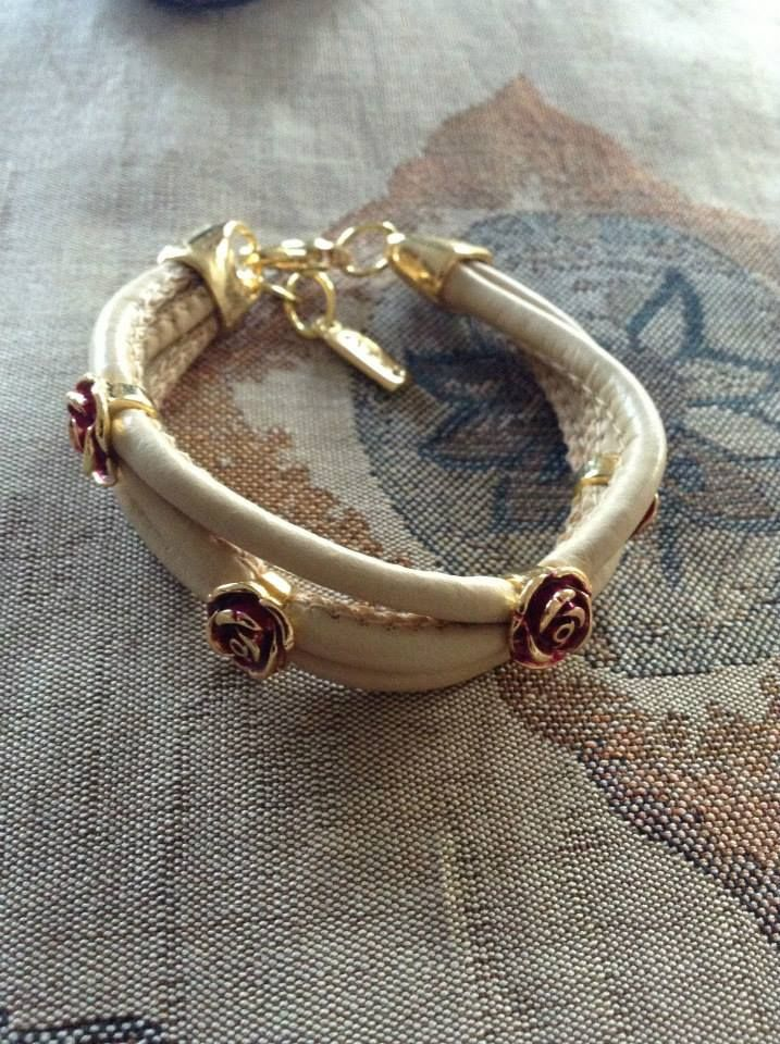 Leather bracelet  with Smalto and Golden plated details  Price: 18e #OZZIjewelry #women #fashion