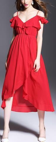 Red Off-Shoulder Ruffled Midi Dress