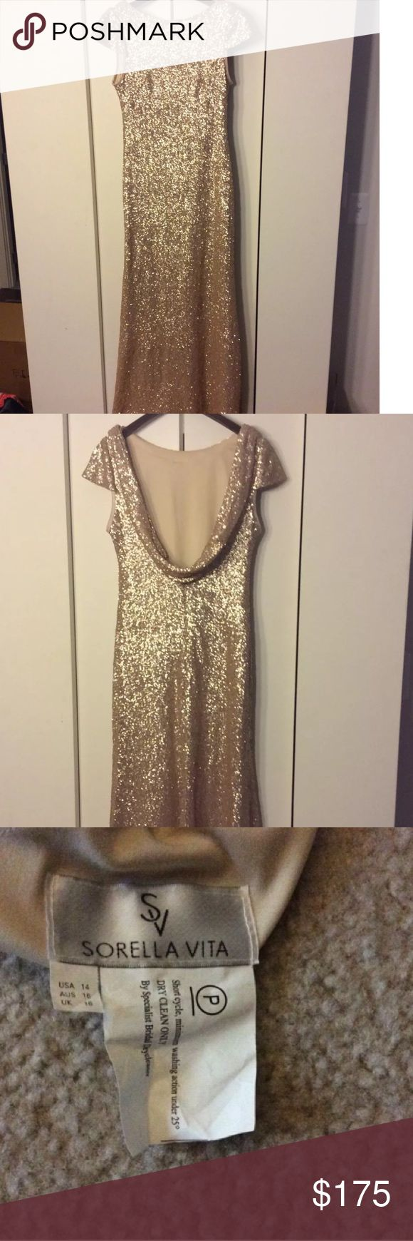 Sorella vita bridesmaid dress. Worn once! Beautiful bridesmaid dress. Sequin gold gown. I am 5 foot 4 inches tall and normally a size 8. This is a size 14 and hemmed 1.5 inch. Worn with 3 inch heel. No other alterations made. sorella vita Dresses Wedding