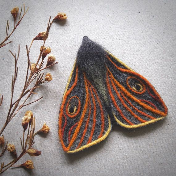 Needle felted textile moth brooch by TheLadyMoth