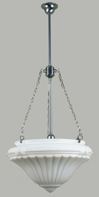 Californian Bungalow Light - Satin Chrome 3 Chain Minister Suspension Light with Bolton Glass