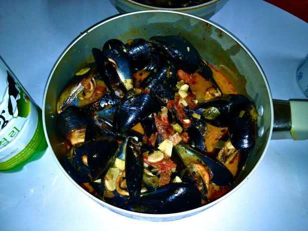 This is a delicious Italian first course soup, as good with mussels as it is with clams. The servings are large, so adjust accordingly if desired. Time does not include preparing the clams.  This is pretty much the soup I would get when Id order it in New York family Italian restaurants.  You can add a bit of clam broth if you like, but steaming the claims in the broth as is gives it a nice flavor.  And in this version, the tomatoes, not paste, would be used.