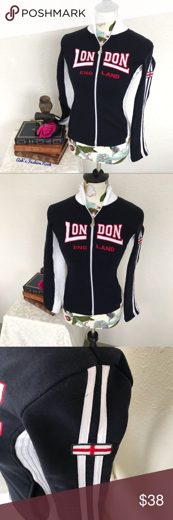 💠Just in💠 London England Sweater Jacket 🌸Brand: Nas🌸 Color(s): dark navy blue and white Size: XL (runs small/check measurements) I would say this would better fit a women's small Stretch: some Fabric Content: see pic Measurements: see pic Condition: EUC! Note(s): very cute and unique! Great condition, no flaws!   📦Bundle your likes, and I will send you a no obligation offer. Or, submit a reasonable offer!📦(A) Nas Tops Sweatshirts & Hoodies