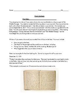 "This a sample writing assignment for middle school students. The following package includes a rubric on the writing assignment and two passages titled ""Middle Passage"" and ""Living Africans Thrown Overboard"". Students can use their knowledge of history and the passages to help them complete the writing assignment."