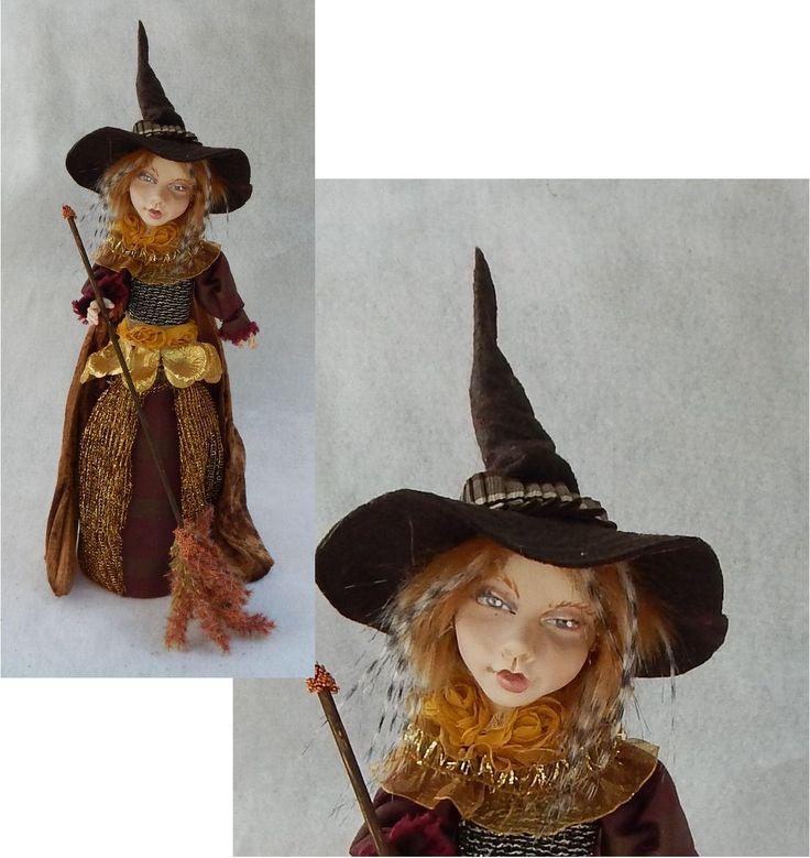 Halloween OOAK Fall Witch Decoration or Tree Topper http://www.ebay.com/itm/Halloween-OOAK-Fall-Witch-Decoration-or-Tree-Topper-Art-Doll-Figurine-Autumn-/151408519182?