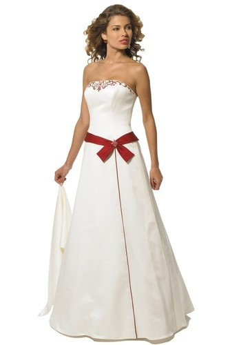 Ivory Red Simple Destination Beach Strapless Style Wedding Dress Size 12 | eBay