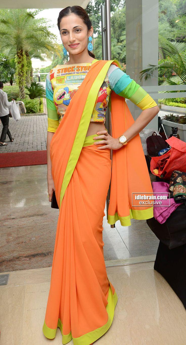 very #modern #sari #orange #blouse