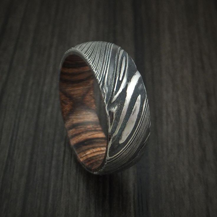 Kuro Damascus Steel Ring With Heritage Brown Hardwood Sleeve Custom Made Wood Band