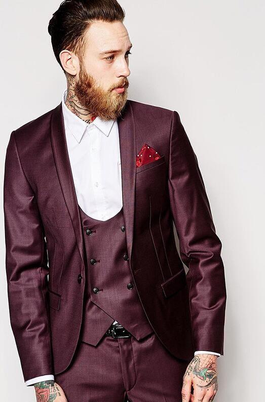 Latest Coat Pant Designs Burgundy Satin Double Breasted Shawl Lapel Formal Custom Suit For Men  3 Pieces Vestidos De Fiesta C